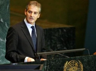 Foreign Minister Jonas Gahr Støre delivers Norway's speech to the UN General Assembly. Photo: UN Photo