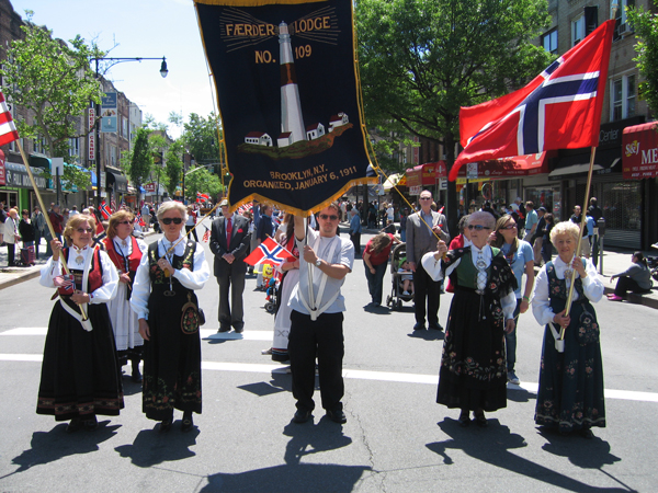 The Sons of Norway Færder Lodge at the Syttende Mai Parade in Brooklyn, N.Y.