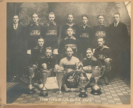 This photo of Sporting Club Gjøa from 1926 shows the athletic achievement of its members.