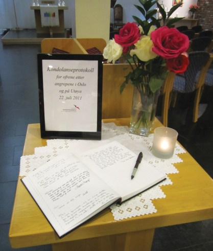 Condolence book at the Norwegian Seamen's Church in New York City on July 25. Photo: Thor Larsen