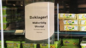 Most Norwegian grocery stores are sold out of butter. Photo: Ole Andreas Bø, NRK