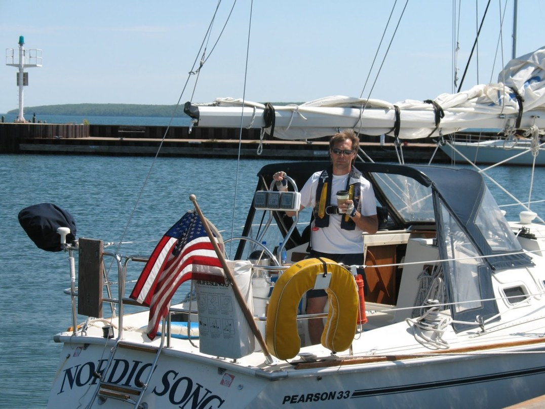 "Photo: Jennifer Larson The ""Nordic Song,"" a Pearson 33 sailboat, docked in Bayfield, Wisc. following a 5-day cruise through the Apostle Islands of Lake Superior. Norwegian-American David Larson proudly captains this vessel!"