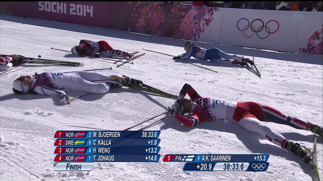 Photo courtesy of Sportsnet.ca Marit Bjørgen and four other top finishers from the Skiathlon gasping for air after all-out effort.