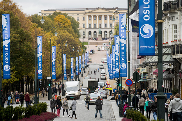 Photo: Gorm K. Gaare / Oslo Innovation Week Karl Johan's gate decked out with Innovation Week banners in 2013.