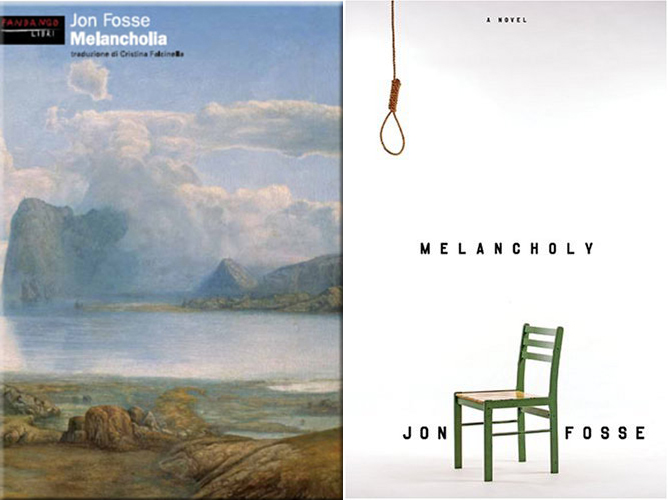 "The differences between covers in and out of the U.S. is itself quite telling. The Italian cover (left), like the Norwegian one, uses Hertervig's""From Borgøya,"" which creates a connection to the artist."