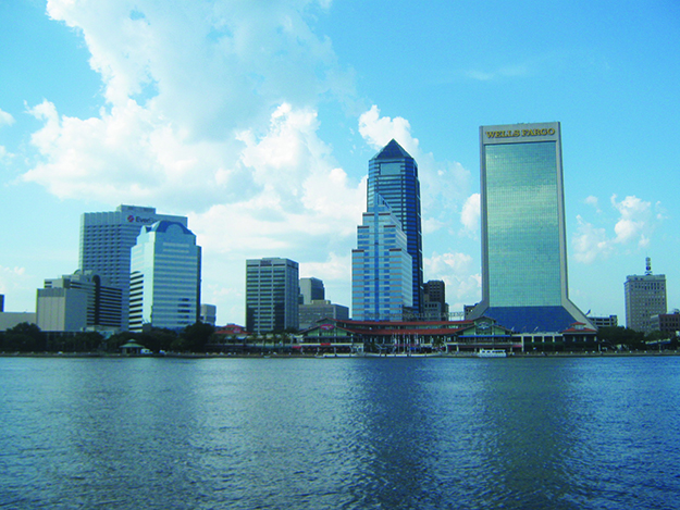 Photos: Barbara K. Rostad Jacksonville skyline along the North Bank Core as seen from Friendship Fountain, South Bank of the St. Johns River.