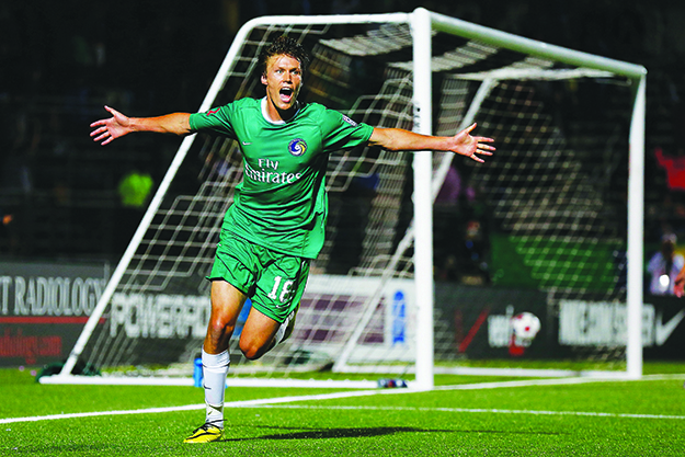 Photo: New York Cosmos via Getty Images (by Mike Stobe) Mads Stokkelien celebrates after scoring a goal. In his first season with the New York Cosmos Mads has scored seven goals in 23 appearances.
