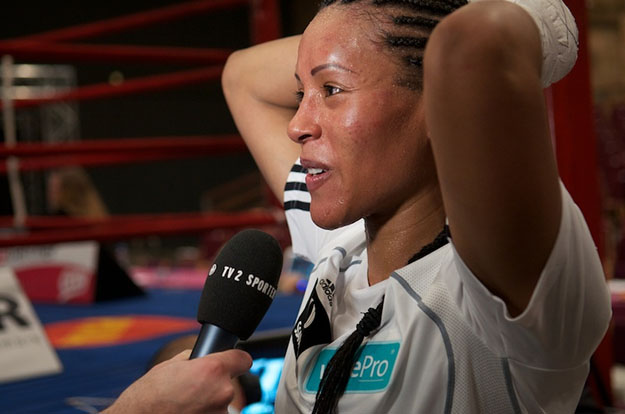 Photo: beatebodenhagen / Wikimedia Commons  Cecilia Brækhus after winning over Jill Emery at the Herning Kongrescenter, Herning, Denmark on April 2, 2011. She and other Norwegian boxers would welcome the chance to train and compete in their home country.
