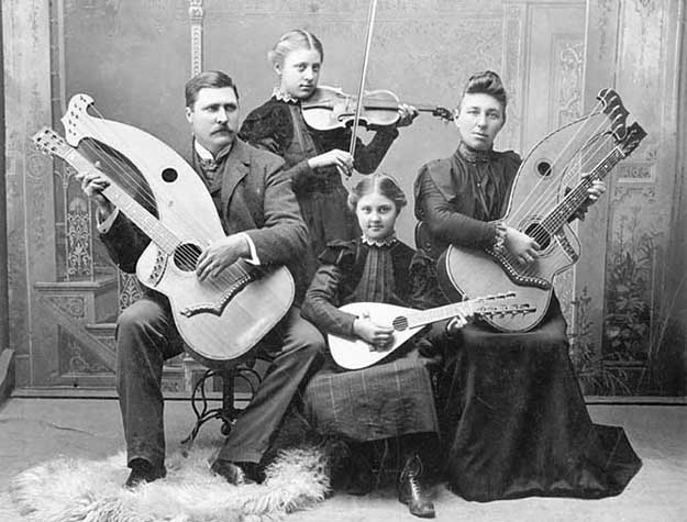 Photo: The Collection of the Jefferson County Historical Society, via Gregg Miner /  The Knutsen Archives The famous photograph of the Knutsen family with their instruments, taken in Port Townsend, Wash.