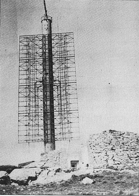 """Photo courtesy of Jon Lind The Germans constructed this radar tower on the highest hill on Fedje, called Hesthaugen.  You can gauge its giant size by the doorway located below it. It was demolished shortly after the war, and the site currently houses the offices of """"Central Traffic Control,"""" from where pilot boats are dispatched, as this is a common approach for international shipping."""