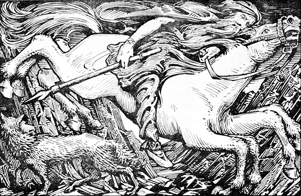 Photo: W.G. Collingwood / Wikimedia Commons Odin atop his eight-legged steed, Sleipnir. In pagan times the pair would ride at Yule, terrifying those who dared to be out but also bringing candy and toys to children. Clement C. Moore replaced Sleipnir with eight flying reindeer in his 18th-century poem, and the image stuck.
