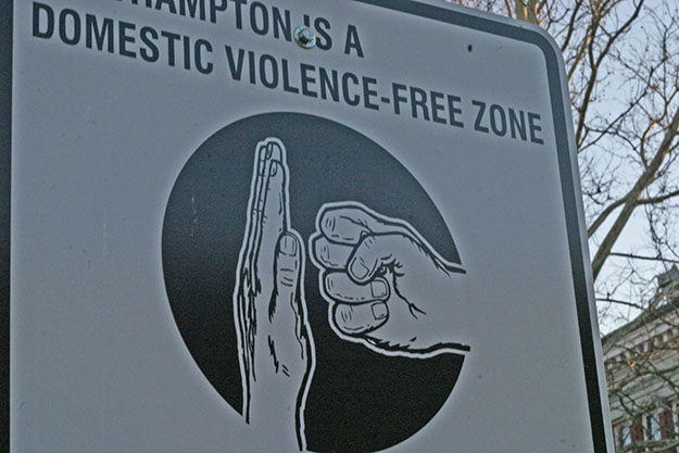 "Photo: Ben Pollard / Wikimedia Commons The sign says ""North Hampton (Massachussetts) is a Domestic Violence free-zone."" Few areas are actively trying to stop the widespread problem of Domestic Violence."