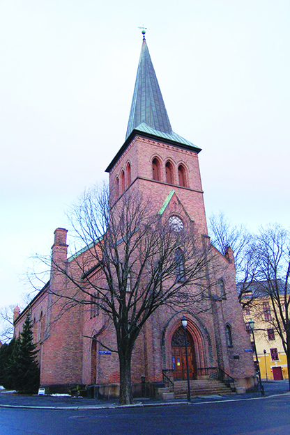 Photo: Wikimedia Commons A neo-gothic church in Kampen, Oslo, is one of your stops along the way.