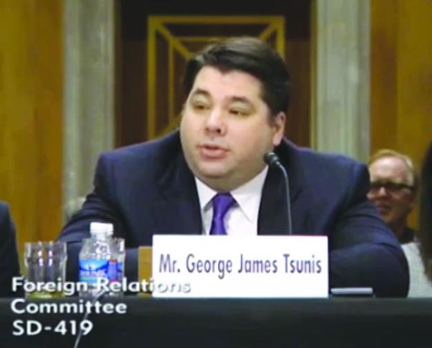 Photo: C-SPAN  George Tsunis in his Senate confirmation hearing.