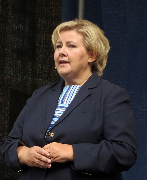 Photo: Nina Aldin Thune / Wikimedia Commons Norwegian Prime Minister Erna Solberg.