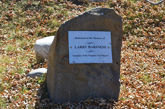 Photo: Nancy Coleman The Larry Barsness memorial stone in Virginia City, Montana. If you look closely, you'll see Norwegian names all over the United States.