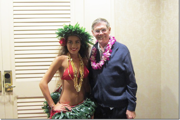 "Photo courtesy of Jerry Larson Pastor Larson is currently enjoying a well-deserved vacation in Hawai'i, where, as he told us, ""all the hula dancers wanted to have their pictures taken with me after the luau."" Have fun, Jerry. We all wish we were there, but we are experiencing the unexpected graciousness of continuing to print the Norwegian American Weekly."