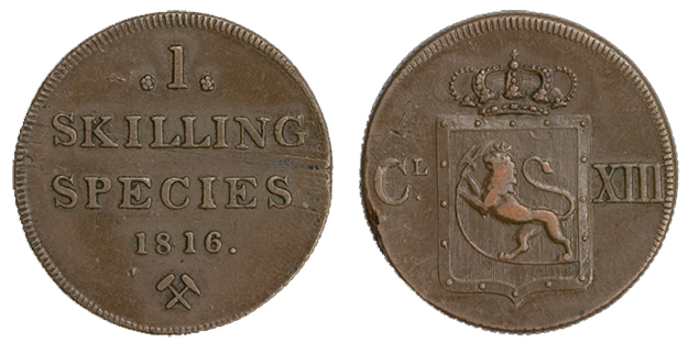 Photo: Wikimedia Commons  A Norwegian skilling from 1816.