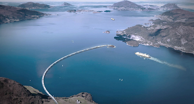 Photo courtesy of Snøhetta Design concept for a combination bridge and tunnel that could solve the problem of accomodating both land and water vehicles through fjords.