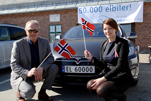 "Photo: Norsk Elbilforening / Wikimedia Commons The Norwegian Electric Vehicle Association (Norsk Elbilforening) celebrated the milestone of 50,000 all-electric vehicles registered in Norway on April 20, 2015. The electric car, a Tesla Model S, received license plate ""EL 60000"" to number 50,000. All EVs have special plates beginning with EL, with a sequence that began with ""EL 10000."""