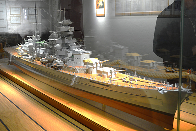 Photo courtesy of Bjørn Olsen A model of Blücher, the German ship whose sinking marked the beginning of the war for Norway.