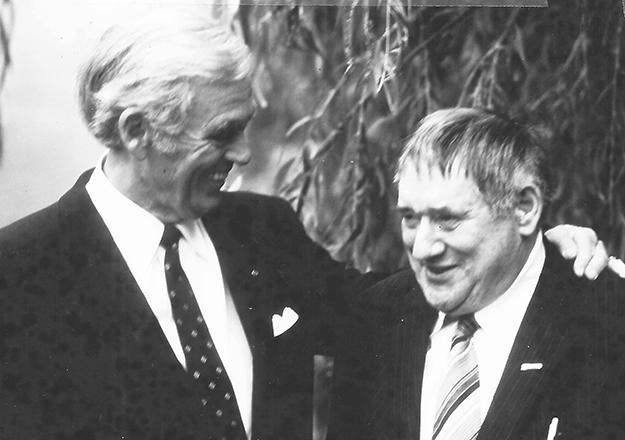 """Photo © Copyright: """"Bak Hitlers rygg,"""" Nova Forlag, 2014  Reinhard Hardegen (left) and Wilfred Larsen (right) met in Bremen in September 1981, 39 years after Hardegen sank the tanker Larsen crewed."""