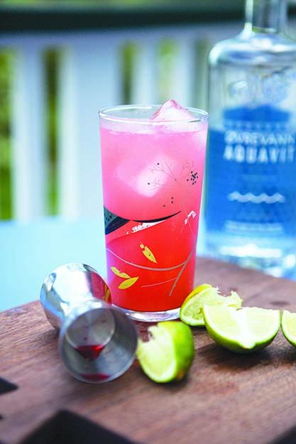 Photo: Emily Vikre Campari meets akevitt in this summer cocktail.
