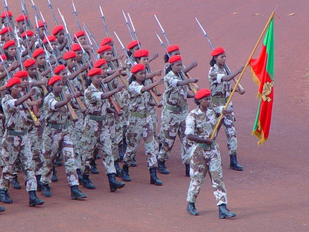 Photo: Temesgen Woldezion Eritrean female soldiers marching in a parade in 2006. One of the human rights issues in Eritrea is the nation's compulsory, indefinite national service.