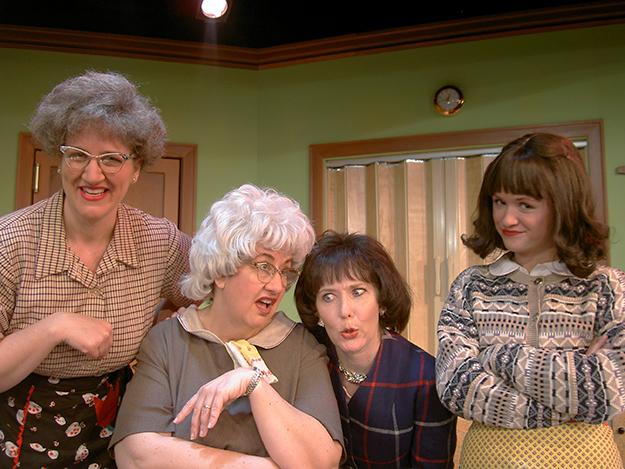 Photo courtesy of Plymouth Playhouse From left to right, the Church Basement Ladies: Greta Grosch (Mrs. Gilmer Gilmerson / Mavis), Janet Paone (Mrs. Lars Snustad / Vivian), Dorian Chalmers (Mrs. Elroy Engelson / Karin), and Tara Borman (Mrs. Harry Hauge / Beverly).