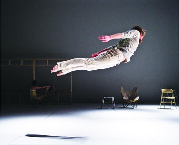 Photo courtesy of Ingun Bjørnsgaard Prosjekt A dancer defies gravity in Praeambulum.