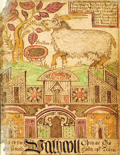 Photo: Wikimedia Commons Nanny goat Heiðrún of Norse Mythology, from an 18th century Icelandic manuscript.