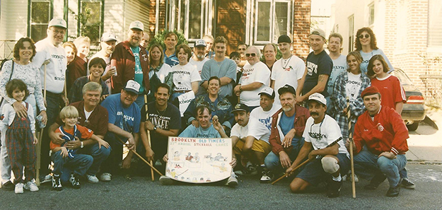 Photo courtesy of Peter Syrdahl  The Stickball Old Timers at their big weekend in 1995. You don't have to be old to be an Old Timer, just come out on October 3 and join in.