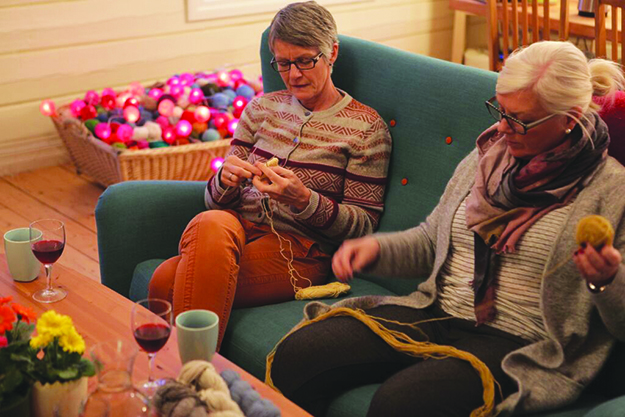 Photo: Matti Bernitz On strikkeferie (knitting holiday) travelers enjoy cozy rooms and good company, while learning about yarn production and knitting techniques—and of course enjoying Norway's beautiful scenery.