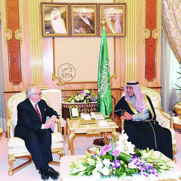 Photo: courtesy of the Norwegian Embassy in Saudi Arabia Ambassador Rolf Willy Hansen meets with Prince Muqrin bin  Abdulaziz, who is a member of the House of Saud and briefly served  as Crown Prince of Saudi Arabia from January to April 2015.