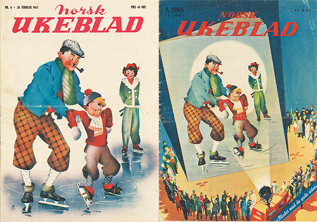 Images: Norsk Ukeblad covers, courtesy of Odd Hauge The last cover of Norsk Ukeblad during the war (left), which mocks Hitler and Quisling, and the celebratory cover of the first Norsk Ukeblad published after the war (right). The magazine was shut down because of the former.