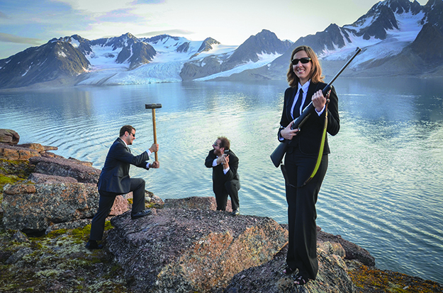 Men in Black—the photo taken of the group the last night of the expedition shows them dressed the way alien hunters should.