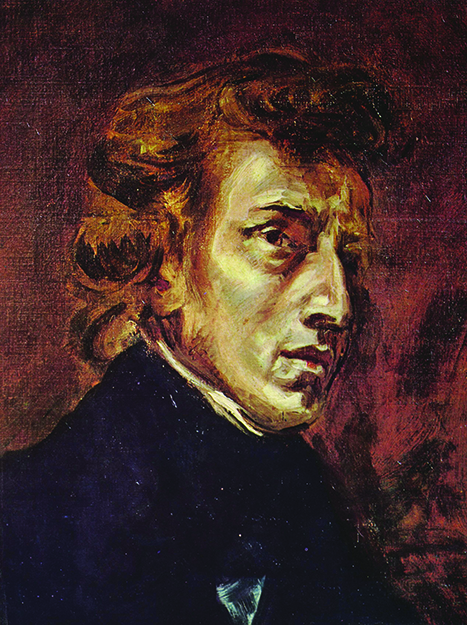 Photo: public domain, from Wikimedia Commons Frédéric Chopin as portrayed by Eugène Delacroix in 1838. This portrait was originally part of a larger painting also showing Georges Sand.
