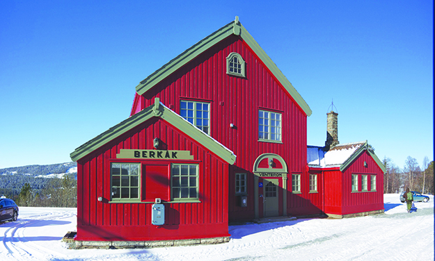 Photo: Clemensfranz / Wikimedia Commons Another red building, as inviting to pilgrims as any church—a train station on a line that connects to Trondheim. But the stalwart pilgrim keeps walking!
