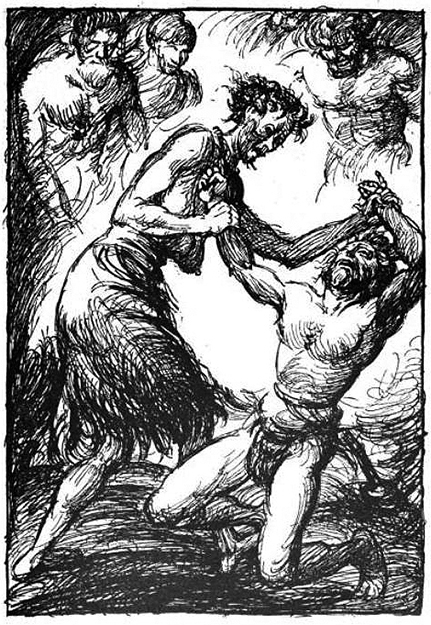 Photo: Public Domain / Wikimedia Commons  Elli wrestles and defeats Thor in this illustration by Robert Engels, published in 1919.