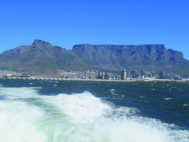 Photo: Thor A. Larsen Cape Town from the ocean, with Table Mountain behind it.