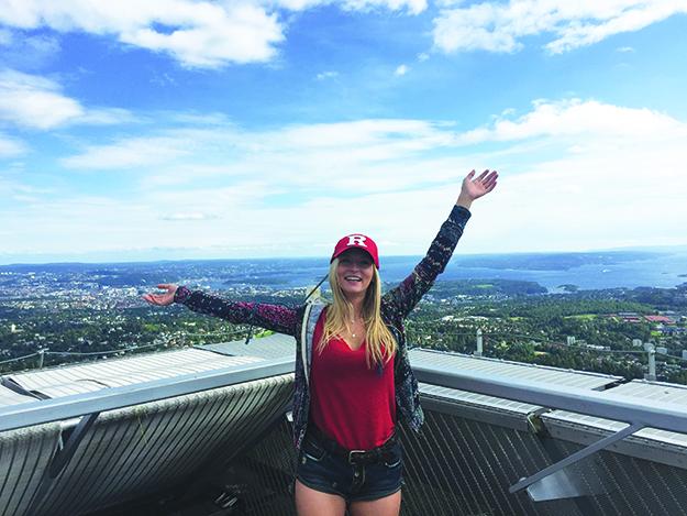 Photo courtesy of Lauren Benson Lauren atop the Holmenkollen ski jump, with Oslo in the background.