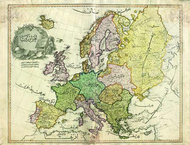 Photo: Wikimedia Commons The Europe sheet of the rare 1803 Cedid Atlas Tercumesi.
