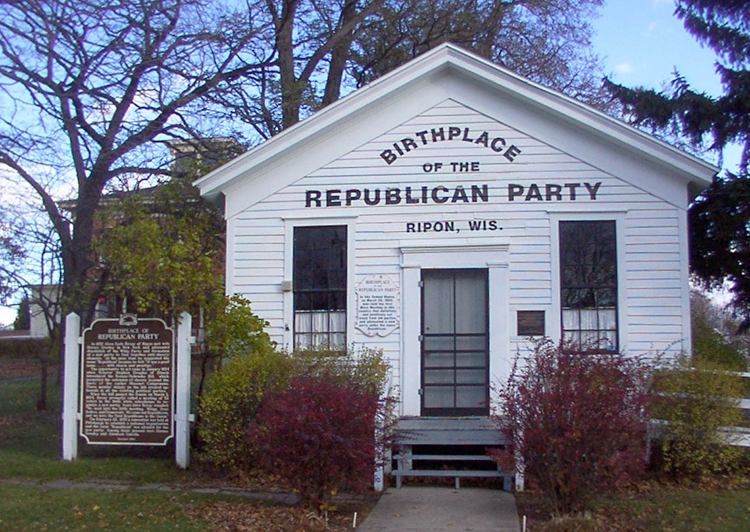 """Photo: Laharl / Wikimedia Commons The Little White Schoolhouse of Ripon, Wis., the claimed birthplace of the U.S. Republican Party (the site of one of the first meetings of the general """"anti-Nebraska"""" movement of 1854 to use the name """"Republican""""). Some who were once proud to be called Republicans now feel the party has taken a wrong turn."""