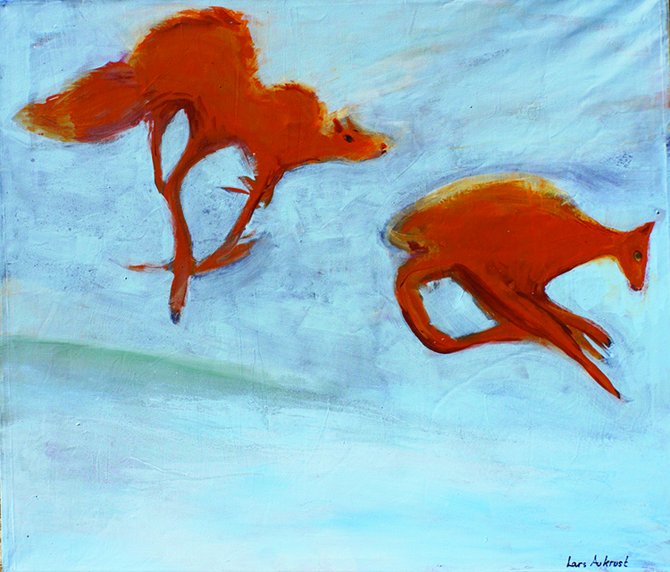 """Photo courtesy of Agora Gallery Painting by Lars Aukrust, """"What Does the Fox Say?"""", Acrylic on Canvas, 51"""" x 59""""."""