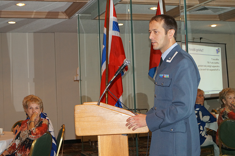 Photo: Horward O. Barikmo Major Morten Hanche of the Royal Norwegian Air Force gave a riveting presentation to Torske Klubben of Sun City, Arizona.