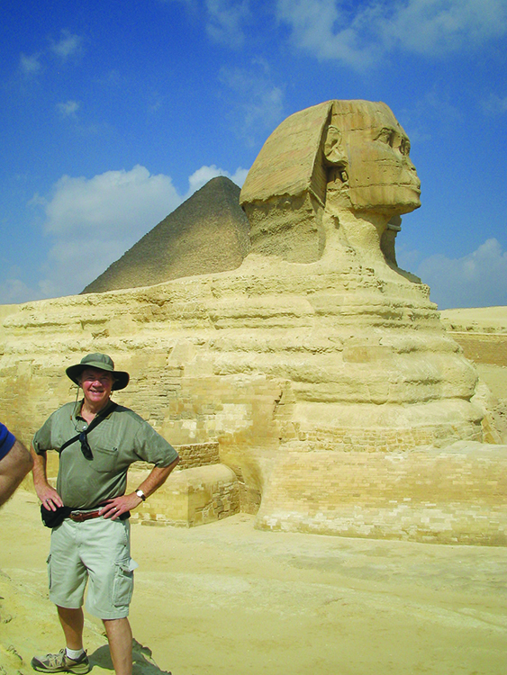 Photo: Arlene & Thor A. Larsen Thor at the Great Sphinx of Giza.