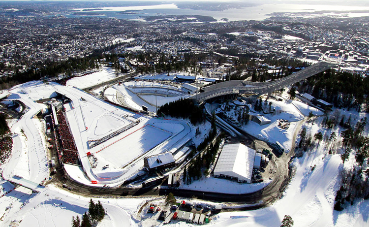 Photo: Visitnorway.com  Holmenkolen National Ski Arena, biathlon range at left center.