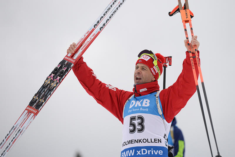 Photo: IBU / Faster Skier Norway's Ole Einar Bjørndalen celebrates silver in the men's 10k sprint on April 2 at the first individual race of IBU World Championships in Oslo, Norway.