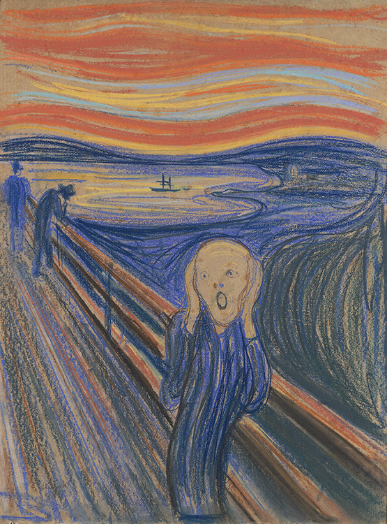 Photo courtesy of the Neue Galerie Edvard Munch (1863-1944), The Scream, 1895., Pastel on board in the original frame, 79 x 59 cm (31 1/8 x 23 ¼ in.), Private Collection, © 2016 Artists Rights Society (ARS), New York.