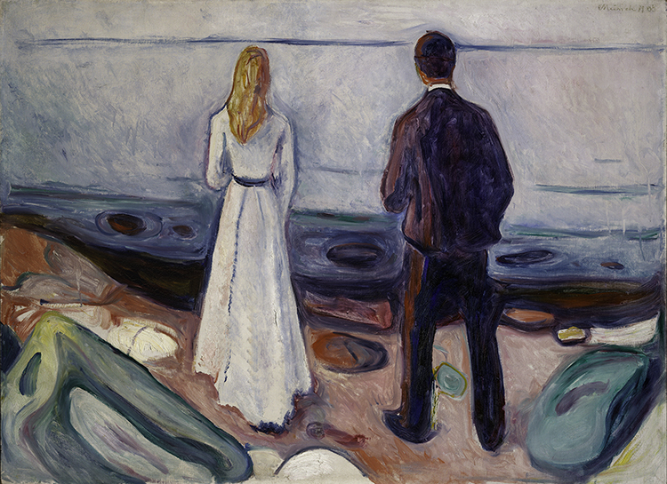 Photo courtesy of the Neue Galerie Edvard Munch (1863-1944), Two Human Beings. The Lonely Ones, 1905, Oil on canvas, 80 x 100 cm (31 ½ x 39 3/8 in.), Lynn G. Straus, © 2016 Artists Rights Society (ARS), New York